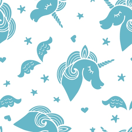 Seamless pattern with blue unicorn, wings and stars. Illustration