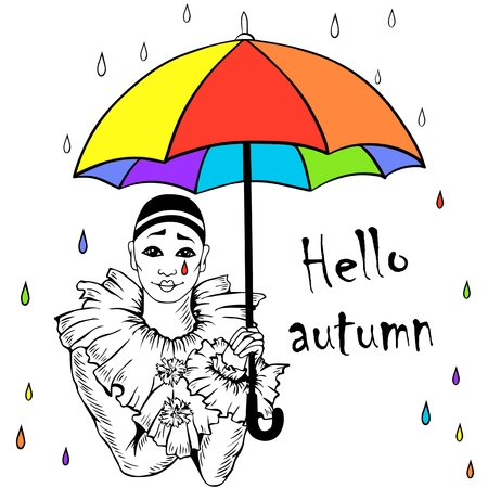"""Hand drawn Pierrot with rainbow umbrella. Isolated on background. Vector illustration. Can be used for invitations, flyers, birthday, festival, carnival, """"thank you"""" card, etc."""