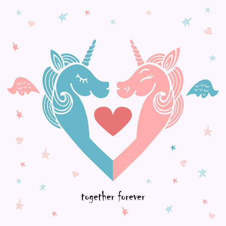 Cute template with pink and blue unicorns with wings. It can be used for wedding, invitation, birthday, St. Valentines Day, party, child birth, greetings.