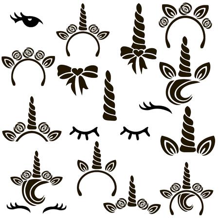 Unicorn symbols vector set. Фото со стока - 82081955