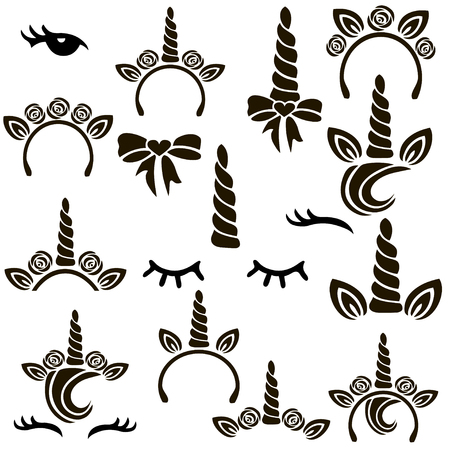 Unicorn symbols vector set.