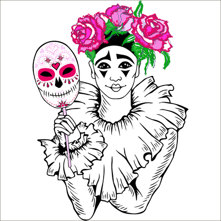 comedy: Pierrot with sugar skull mask and pink roses. Vector. Isolated on white background. Can be used for carnival, Dia de Los Muertos, Day of the Dead or Halloween, card, invitation, etc. Illustration