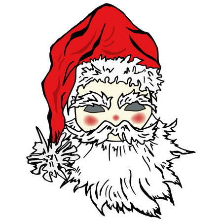 Hand drawn Santa Claus mask. Vector. Isolated on white background. Merry Christmas and New Year card.