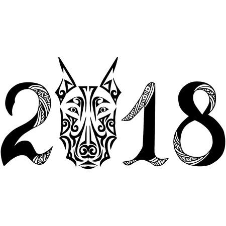Hand gezeichnetes Zeichen 2018 mit Dobermann Hund Kopf stilisierte Maori Gesicht Tattoo. Standard-Bild - 82235583