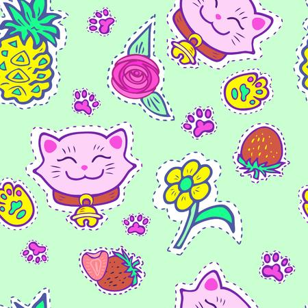 Seamless bright pattern with pink smiling cat, pineapple, strawberry, yellow flower. Maneki Neko - symbol of happiness, luck, success, love. Vector.