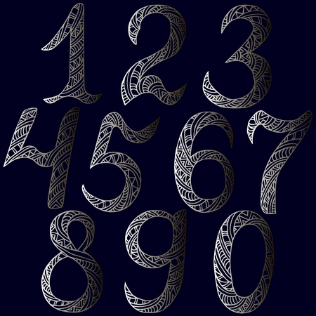 Silver metal numbers Isolated on background.