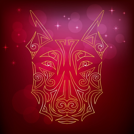 Golden yellow dog head isolated on red background. Symbol of chinese 2018 New Year. Stylized Maori face tattoo. Space Doberman dog. Vector illustration
