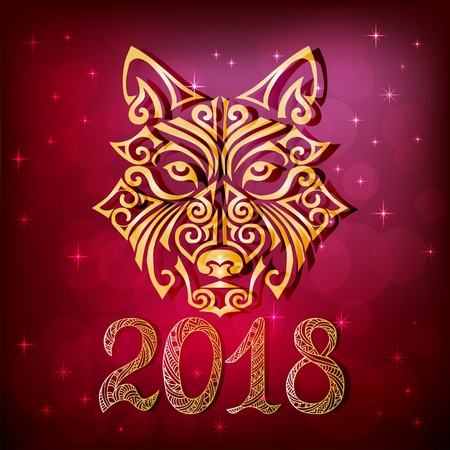 2018 New Year card with wolf or husky dog head stylized
