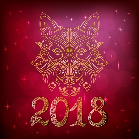 2018 New Year card with wolf or husky dog ??head stylized Maori face tattoo. Symbol of chinese 2018 New Year. Isolated on red background. Space Husky dog. Vector.