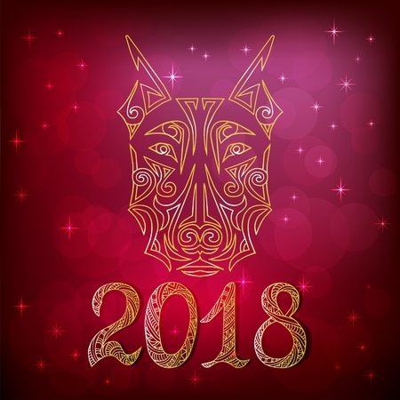 2018 New Year card with doberman dog head contour stylized Maori face tattoo. Symbol of chinese 2018 New Year. Isolated on red background. Vector. Illustration