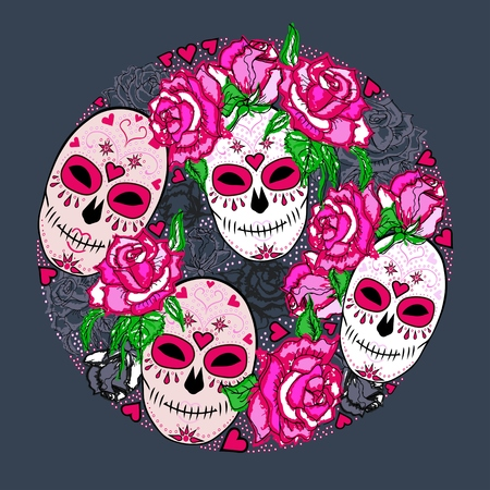 Circle concept with Sugar skull and pink roses. Day of the dead (Dia de los muertos). Happy Halloween. Vector design element. Isolated on background.