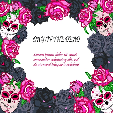 Sugar Skull With Pink Roses Template. Text Copy Frame Template ...