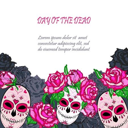 Calavera de azúcar con plantilla de rosas rosadas. Plantilla de marco de copia de texto. Día de los muertos (Dia de los muertos). Feliz Halloween. Ilustración vectorial Ilustración de vector