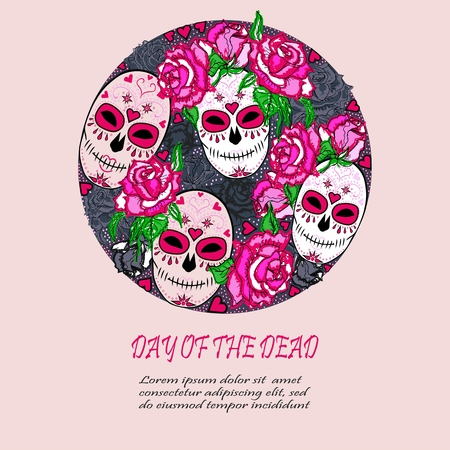 halloween background: Circle concept with Sugar skull and pink roses. Day of the dead (Dia de los muertos). Happy Halloween. Vector design element. Isolated on background.