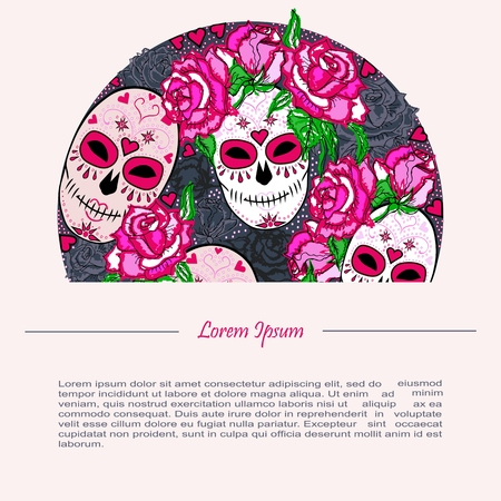 Circle Concept With Sugar Skull And Pink Roses. Day Of The Dead ...