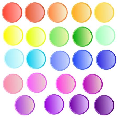 Reeks regenboog gekleurde knopen die op witte achtergrond worden geïsoleerd