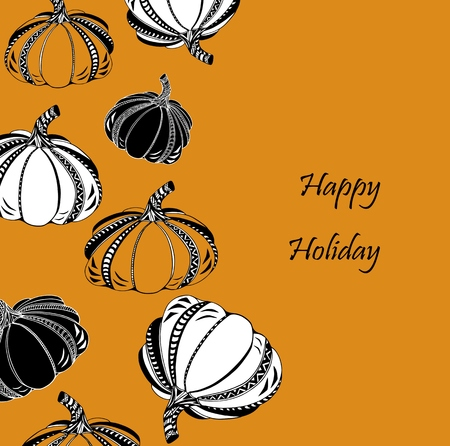 Thanksgiving day or Happy Halloween card with pumpkin. Text copy frame template. Vector