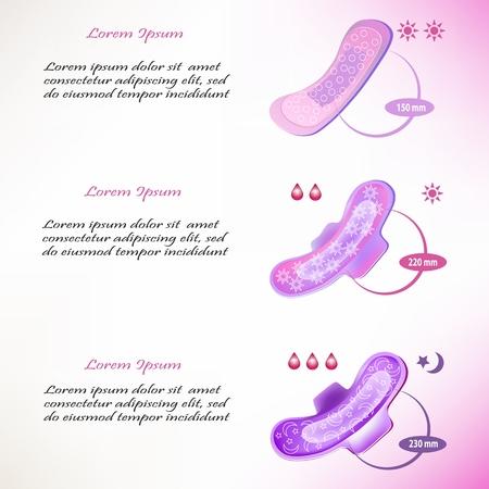 Modello con pad per la notte, il giorno e tutti i giorni. Infografica per la descrizione di assorbenti igienici. Illustrazione vettoriale Vettoriali