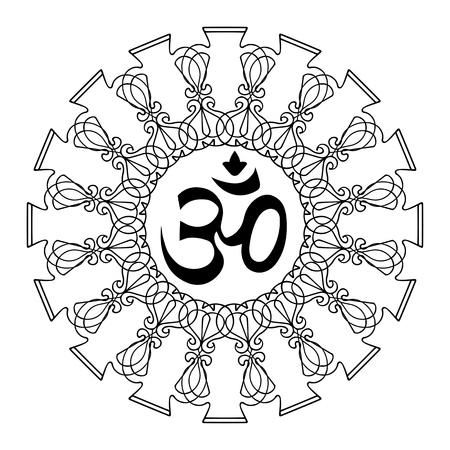 mantra: Diwali Ohm symbol with mandala. Isolated on white background. Vector