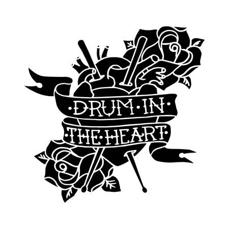 Hand drawn Drum in the Heart with human heart, drumsticks