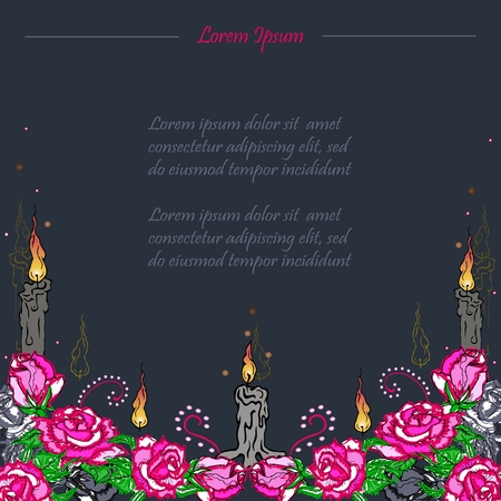 Text copy frame template with candles and pink roses. Funeral card. Day of the dead (Dia de los muertos). Happy Halloween. Vector illustration. Illustration