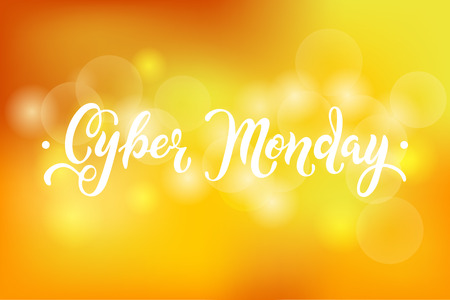 Cyber ??Monday sale quote on yellow abstract bokeh background. Hand drawn lettering for banner / logo / badge / web / poster. Discount time. Vector illustration for your business artwork, isolated on background.