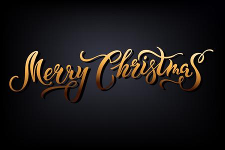 Fröhliche Weihnachten. Hand gezeichnetes goldenes Logo der Beschriftungsfeier. Kalligraphisches Gestaltungselement für Frohe Feiertage Grußkarte / Postkartenmotiv / -Abzeichen / Netz / Einladung / Plakat. Typografie für Winterferien. Standard-Bild - 90821678