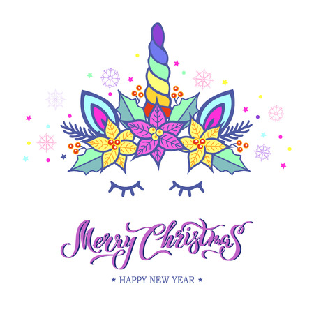 Merry Christmas card with hand drawn lettering, Unicorn Tiara with rainbow horn and Christmas star flower Poinsettia. Vector illustration isolated on white background. Postcard, invitation motive. Illustration