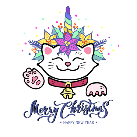 Funny Merry Christmas card with hand drawn lettering, Maneki Neko cat with Unicorn horn, poinsettia plant wreath. Vector illustration isolated on white background. Postcard, invitation motive.