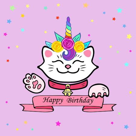 Cute Happy Birthday card with cat and Unicorn tiara. Vector illustration for party invitation, greeting card, love you card. White Maneki Neko is a symbol of happiness, luck, success, love. Illustration