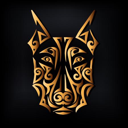 Golden doberman dog head isolated on black background. Symbol of Chinese 2018 New Year. Stylized Maori face tattoo. Vector illustration Vettoriali