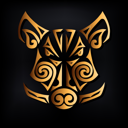 Golden boar head isolated on black background. Stylized Maori face tattoo. Symbol of Chinese 2019 New Year. Vector illustration