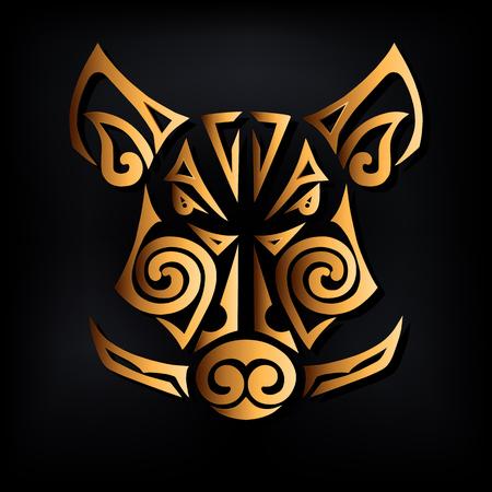 Gouden zwijnenhoofd dat op zwarte achtergrond wordt geïsoleerd. Gestileerde Maori gezichtstattoo. Symbool van Chinees Nieuwjaar 2019. Vector illustratie