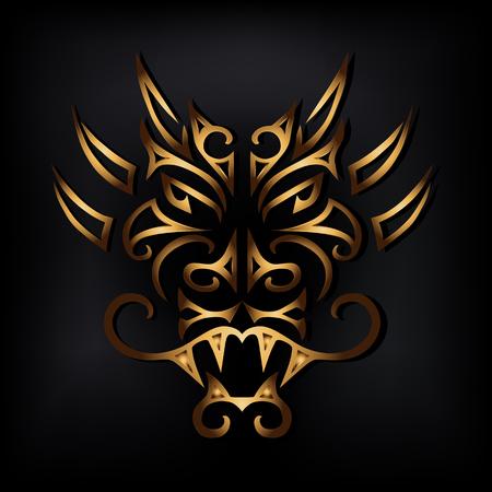 黒い背景に隔離された黄金のドラゴンヘッド。定型化されたマオリの顔のタトゥー。ゴールデンドラゴンマスク年による中国の星占いのシンボル。