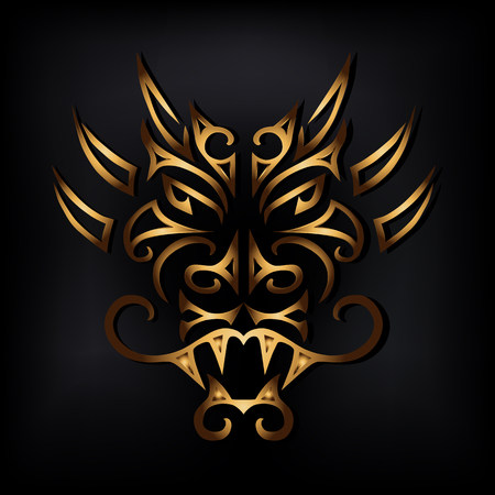 Golden dragon head isolated on black background. Stylized Maori face tattoo. Golden dragon mask. Symbol of Chinese Horoscope by years. Vector illustration.