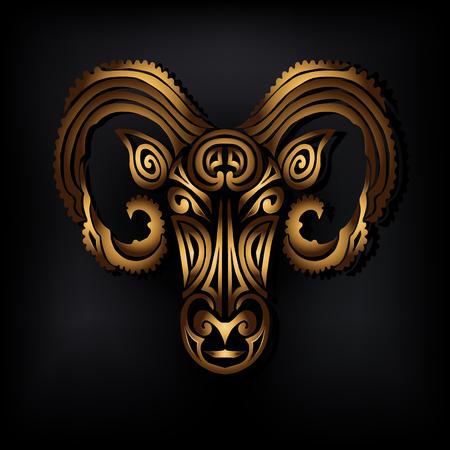 Golden Ram head vector illustration