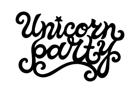 Hand drawn Unicorn Party lettering. Logotype vector illustration. Unicorn Party design element for stick cake toppers  laser cut plastic  wooden toppers. Text for banner, poster, birthday greeting card