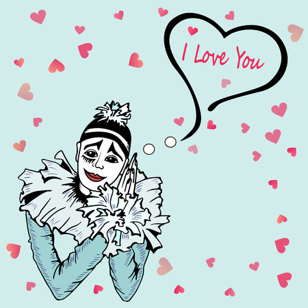Cute I love you card with hand drawn pierrot isolated on blue background. Template for St. Valentine's Day, invitation party, Mother day, birthday,  greetings card. Mime actor with hearts. Postcard motive.