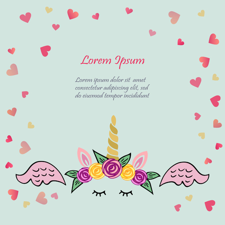 Cute vector illustration with unicorn tiara and horn, pink wings on blue background with hearts. Template for St. Valentine's Day, invitation, party, Mother day. birthday. baby birth. greetings card.