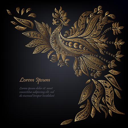 黒い背景に隔離された黄金の民族の鳥とテンプレート。ベクトルイラスト。