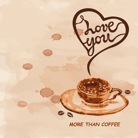 Love You More Than Coffee text isolated on textured background. Love You hand drawn lettering as Valentines Day card. Template for banner, poster, web, menu, coffee shop, greeting card.  イラスト・ベクター素材