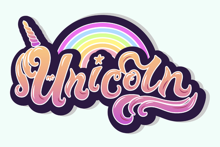 Unicorn text as logotype, badge, patch and icon isolated on white background. Hand drawn lettering Unicorn for postcard, card, invitation, flyer, banner template. Vector illustration