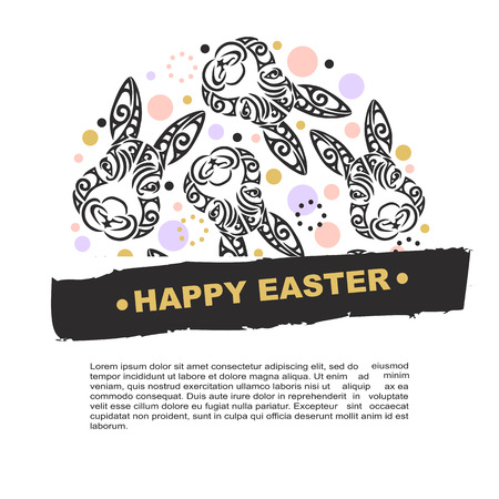 Circle concept with bunny head. Vector design element for Happy Easter Day, party invitation, greeting card, web, postcard, girl or boy birthday, tattoo studio. Rabbit head stylized Maori face tattoo.