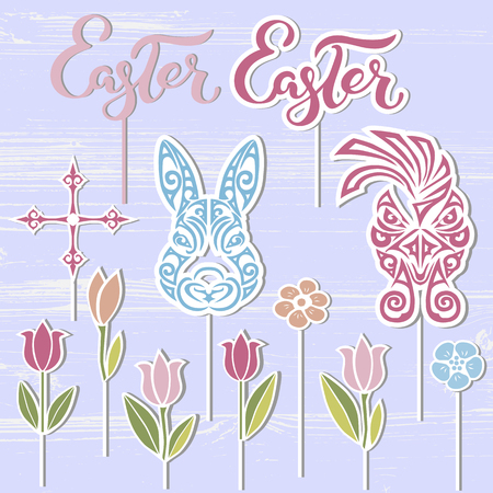 Vector set for Happy Easter Day. Bunny, Easter word, rooster, flowers as cake toppers on textured background. Easter hand drawn lettering as icon, badge, icon, patch. Design elements for Easter party.