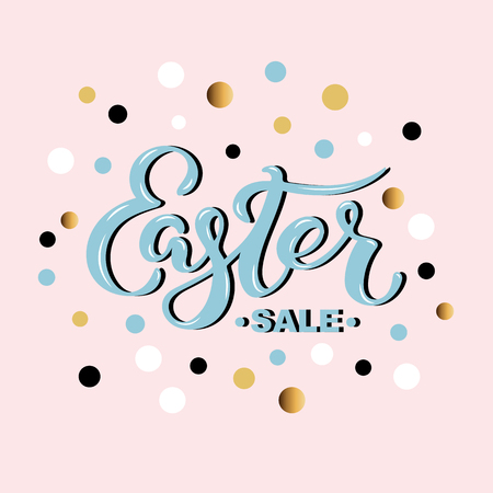 Easter sale hand drawn lettering for card, banner, badge, web, poster, store. Discount time. Vector illustration for your business artwork.