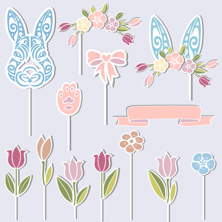 Vector set for Baby birthday. Bunny, floral wreath, bunny ears, flowers as cake toppers or stickers isolated on background. Design elements for Sweet Bunny Party.