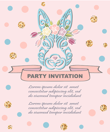 Bunny head with floral wreath isolated on background. Logo, pet shop, badge. Template for Baby Birthday, Easter Day, party invitation, greeting card, baby shower.