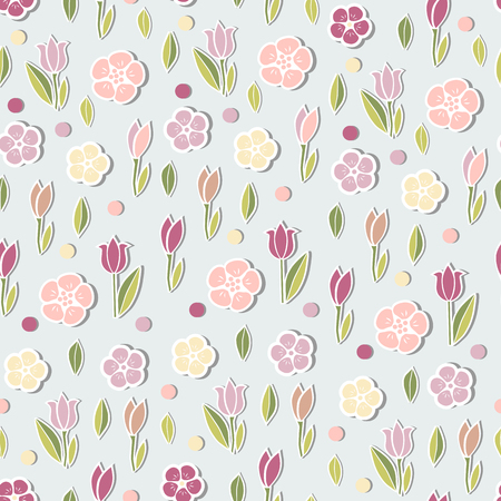 Seamless blue pattern with tulips pink flowers. Vector illustration.