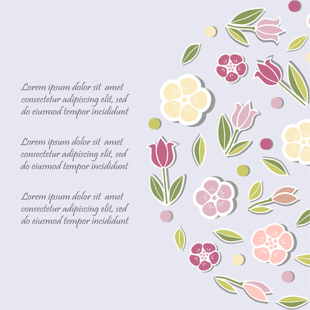 Template with flowers for party invitation