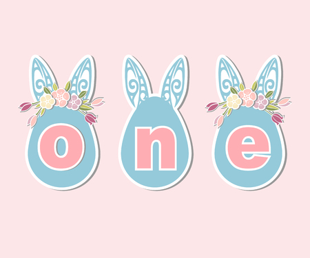 Vector illustration One with Bunny Ears and Flower Wreath.